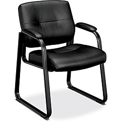 basyx by HON VL690 Series Black Guest Leather Chair