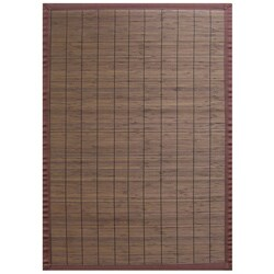 Villager Coffee Brown Border Bamboo Rug (7' x 10')