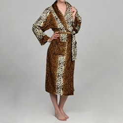 Women's Cheetah Print Microluxe Bath Robe