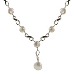 Sterling Silver White Freshwater Coin Pearl Necklace (11-11.5 mm, 14 mm)