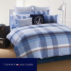 Tommy Hilfiger 'Heritage' Red, White, Blue Plaid 3-piece Full/Queen-size Mini Comforter Set