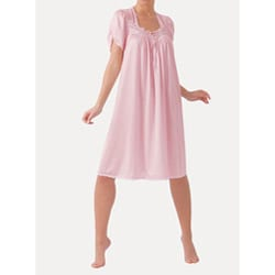 Ilusion Women's Pink Lace Embroidered Short Sleeve Nightgown