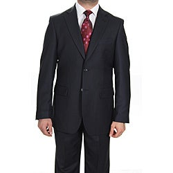 Ferrecci Men's Navy Checkered Two-button Suit