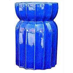 Lotus Round Ceramic Blue Garden Seat 13580642