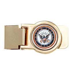 American Coin Treasures Goldtone Navy Washington Quarter Money Clip