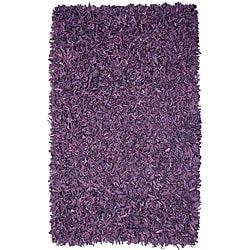 Pelle Hand-tied Purple Leather Shag Rug (2'6 x 4'2)