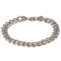 Sterling Essentials Rhodium Plated Silver 8.5-inch Men's Cuban Link Bracelet (9.25mm)