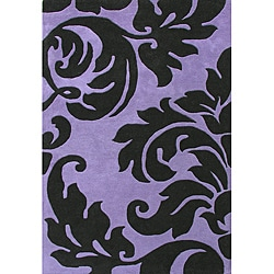 Alliyah Handmade Purple New Zealand Blend Wool Rug  (4' x 6')
