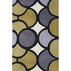 Alliyah Handmade New Zeeland Blend Green Geometric Rug (4' x 6')