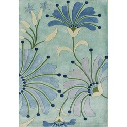 Alliyah Handmade Nile Blue New Zealand Blend Wool Rug 5