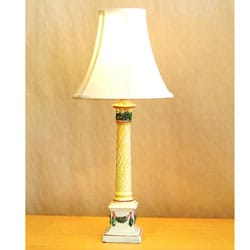 Pink and Yellow Candlestick Table Lamp