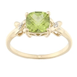 10k Yellow Gold Peridot and Diamond Accent Ring (J-K, I2)