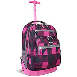 J World &#39;Sundance&#39; Pink Block 19.5-inch Rolling Backpack with Laptop Sleeve
