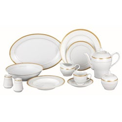 Lorren Home Gold Milano 49-piece Dinnerware Set