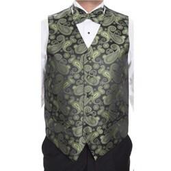 Ferrecci Men's Green Patterned 4-piece Vest Set
