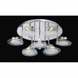 Contemporary Chrome and Glass Dish Flushmount Chandelier
