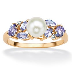 Angelina D'Andrea 10k Gold FW Pearl, Tanzanite and Diamond Ring (6.5 mm)