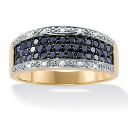 Angelina D'Andrea 18k Gold/ Silver Sapphire and Diamond Accent Ring