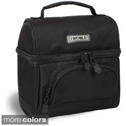 J World Corey Solid Black Polyester Lunch Tote with Front Pocket