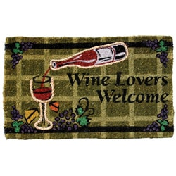 Coir Rope Inlay Wine Lovers Welcome Mat