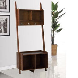 Cappuccino Leaning Ladder Shelf Bench