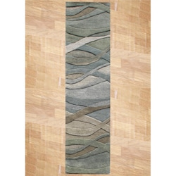 Alliyah Handmade New Zeeland Blend Classic Grey/Green Wool Area Rug (2&#39; x 8&#39;)