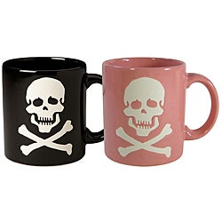 Waechtersbach Set of His and Her Black and Pink Skull Mugs
