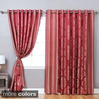 Wide Width Damask Jacquard Grommet 84-inch Curtain Pair