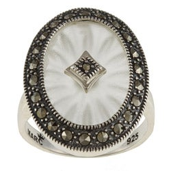 MARC Sterling Silver White Sunray Crystal and Marcasite Oval Ring