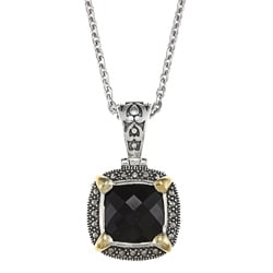 Sterling Silver Onyx and Marcasite Square Necklace