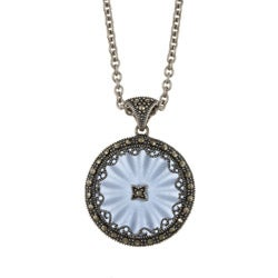 MARC Sterling Silver Blue Sunray Crystal and Marcasite Necklace