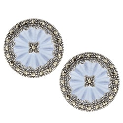 MARC Sterling Silver Marcasite Sapphire Sunray Crystal Earrings