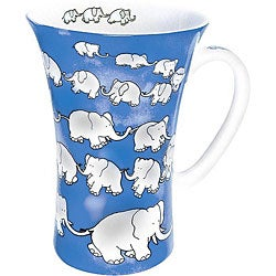 Konitz Chain Of Elephants Blue Mega Mugs (Set of 4)