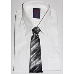 Brio Men's Cotton Dress Shirt and Tie Set