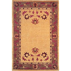 Hand-knotted Gold 'English Rose' Wool Rug (8' x 10')