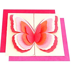 Set of 5 Lokta Paper 3D Pink Magic Butterflies Note Cards (Nepal)