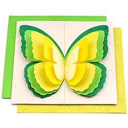 Set of 5 Lokta Paper 3D Green Magic Butterflies Note Cards (Nepal)