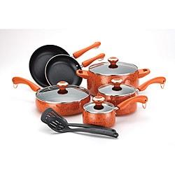 Paula Deen Signature Orange Porcelain  12-piece Nonstick Cookware Set