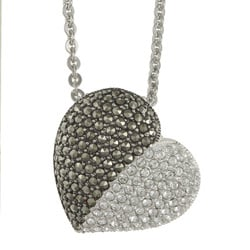 MARC Sterling Silver Marcasite and Clear Crystal Heart Necklace
