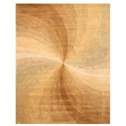 Hand-tufted Beige Swirl Wool Rug (9' x 12')