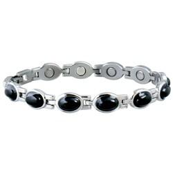 Sabona Women's Stainless Steel Black Stone Magnetic Bracelet