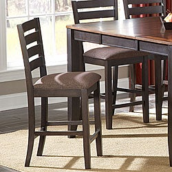Nolan Espresso Wood Chenille Cushioned Counter Stool (Set of 2)