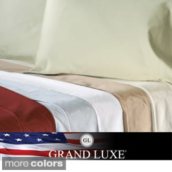 Grand Luxe Egyptian Cotton Sateen 500 TC Deep Pocket Sheet Set and Pillowcases