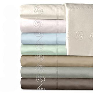 Grand Luxe Egyptian Cotton Sateen 300 Thread Count Swirl Deep Pocket Sheet Set