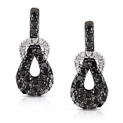 Miadora 10k White Gold 1/2ct TDW Black and White Diamond Earrings (G-H, I2-I3)