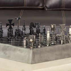 Recycled Metal 'Rustic Pyramid' Auto Part Chess Set (Mexico)