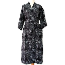 Men&#39;s Cotton &#39;Black Cosmos&#39; Batik Robe (Indonesia)