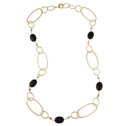 Rivka Friedman 18k Goldplated Black Bead Necklace