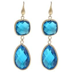 Rivka Friedman 18k Goldplated Blue Crystal Dangle Earrings