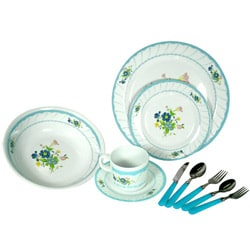 Alpine cuisine 39 blue floral 39 40 piece melamine dinnerware for Alpine cuisine flatware
